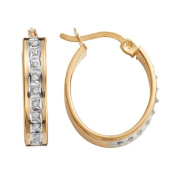 Diamond Mystique 18k Gold Over Silver Diamond Accent Oval Hoop Earrings