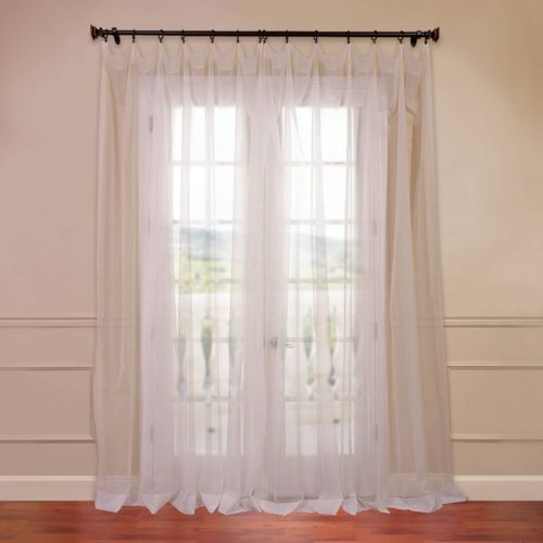 "EFF Solid Sheer Voile Window Panel Pair – 50"" x 96"""