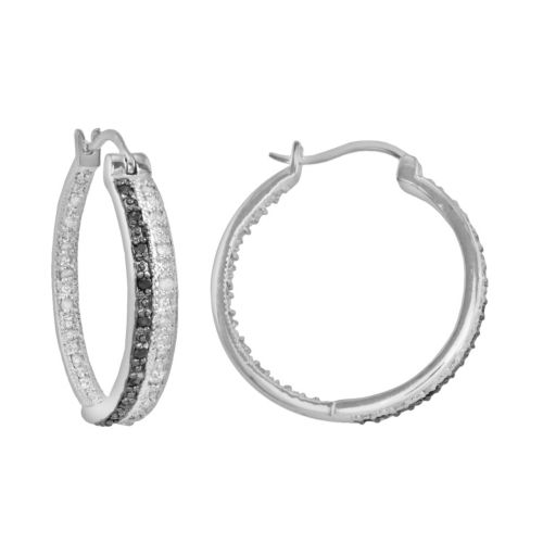 Sterling Silver 1/2-ct. T.W. Black and White Diamond Hoop Earrings