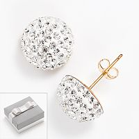 14k Gold-Bonded Sterling Silver Crystal Button Stud Earrings