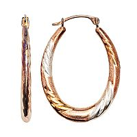 14k Gold-Bonded Sterling Silver Tri-Tone Twist Oval Hoop Earrings