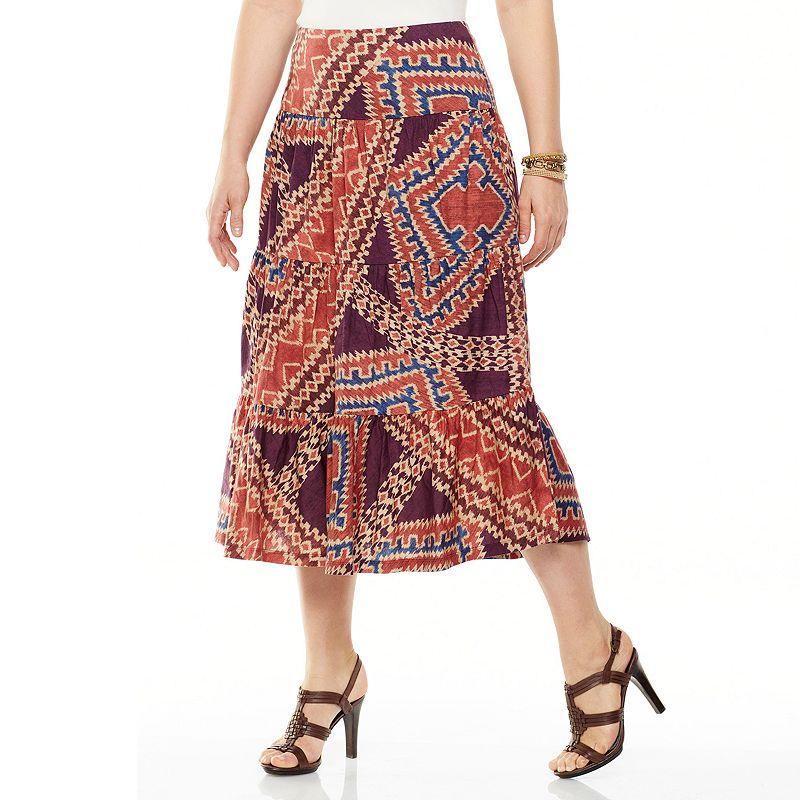 Chaps Geometric Tiered Peasant Skirt - Women's Plus
