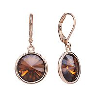 Illuminaire 14k Rose Gold Over Silver-Plated Crystal Drop Earrings - Made with Swarovski Crystals