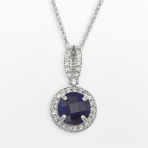 Sterling Silver Lab-Created Blue and White Sapphire Halo Pendant