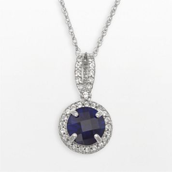 Sterling Silver Lab-Created Blue & White Sapphire Halo Pendant