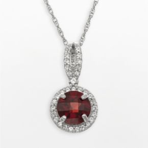 Sterling Silver Garnet and Lab-Created White Sapphire Halo Pendant