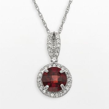 Sterling Silver Garnet & Lab-Created White Sapphire Halo Pendant