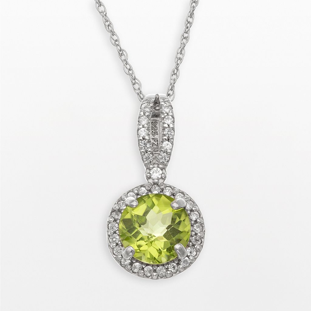 Sterling Silver Peridot & Lab-Created White Sapphire Halo Pendant