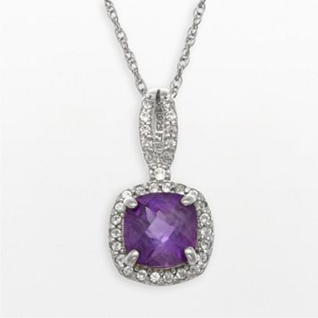Sterling Silver Amethyst & Lab-Created White Sapphire Square Halo Pendant