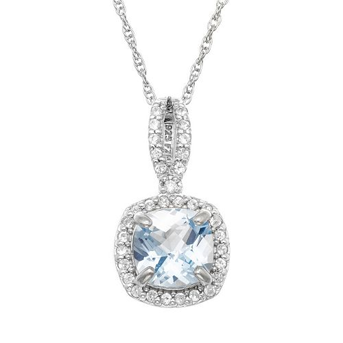 Sterling Silver Lab-Created Aquamarine & Lab-Created White Sapphire Square Halo Pendant