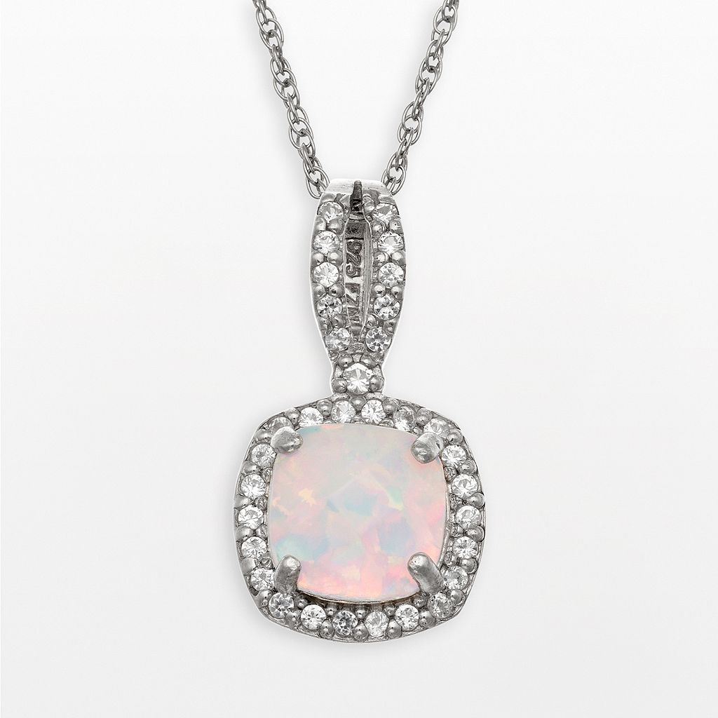 Sterling Silver Lab-Created Opal & Lab-Created White Sapphire Square Halo Pendant