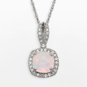 Sterling Silver Lab-Created Opal and Lab-Created White Sapphire Square Halo Pendant