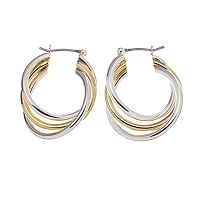 Napier® Two Tone Triple-Twist Hoop Earrings