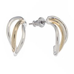 Napier® Two Tone Twist Hoop Earrings
