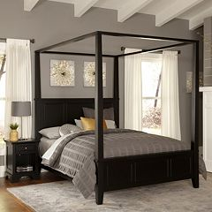 Home Styles Bedford 4 pc Queen Headboard, Footboard, Frame Canopy Bed and Nightstand Set