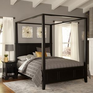 Home Styles Bedford 4-pc. Queen Headboard, Footboard, Frame Canopy Bed and Nightstand Set