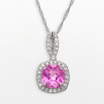 Sterling Silver Lab-Created Pink & White Sapphire Square Halo Pendant