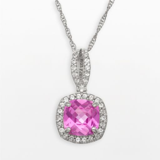 Sterling Silver Lab-Created Pink and White Sapphire Square Halo Pendant
