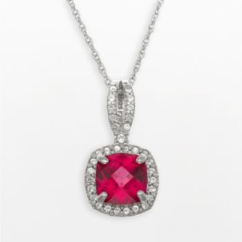 Sterling Silver Lab-Created Ruby and Lab-Created White Sapphire Square Halo Pendant