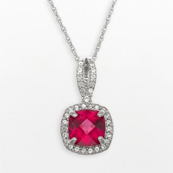 Sterling Silver Lab-Created Ruby & Lab-Created White Sapphire Square Halo Pendant