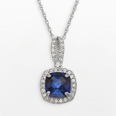 Sterling Silver Lab-Created Blue & White Sapphire Square Halo Pendant