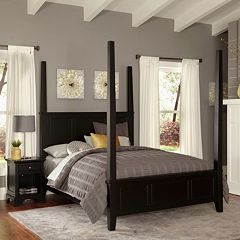 Home Styles Bedford 4 pc Queen Headboard, Footboard, Frame Poster Bed and Nightstand Set