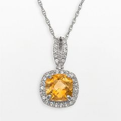 Sterling Silver Citrine & Lab-Created White Sapphire Square Halo Pendant