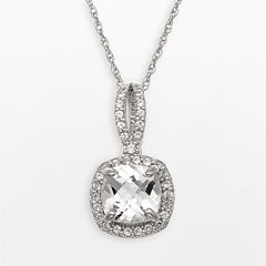 Sterling Silver Lab-Created White Sapphire Square Halo Pendant