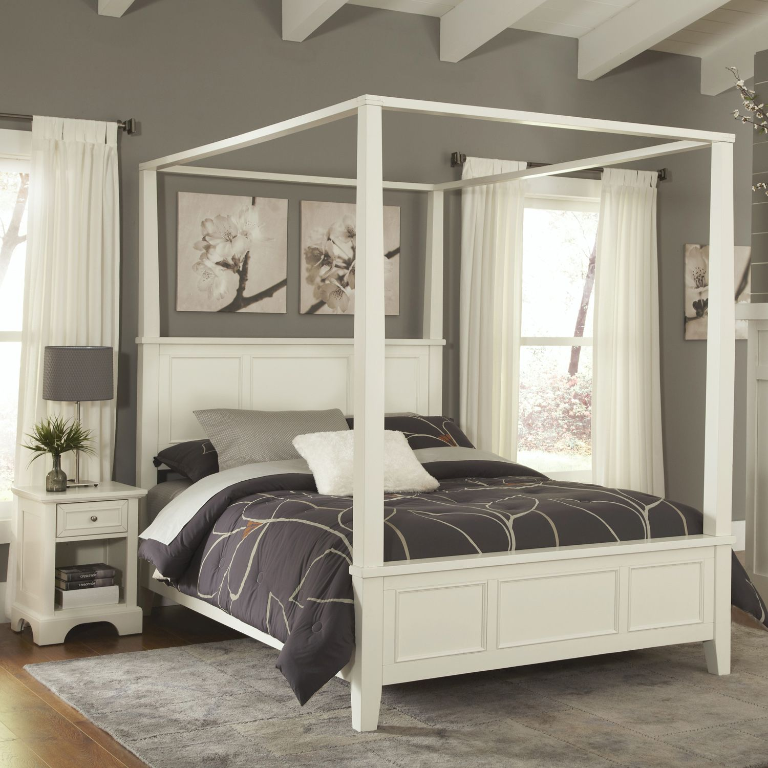 Styles Naples 4 Pc Queen Headboard Footboard Frame Canopy Bed