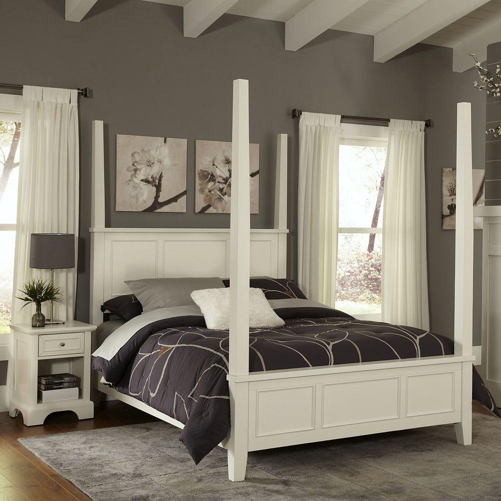 Home Styles Naples 4-pc. Queen Headboard, Footboard, Frame Poster Bed and Nightstand Set