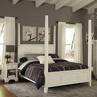 Home Styles Naples 4 pc Queen Headboard, Footboard, Frame Poster Bed and Nightstand Set