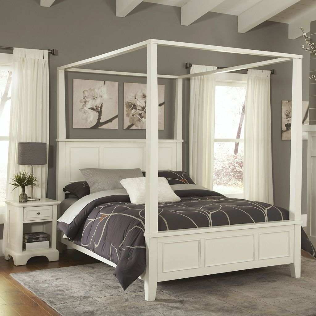 Home Styles Naples 4-piece King Canopy Bed & Nightstand Set