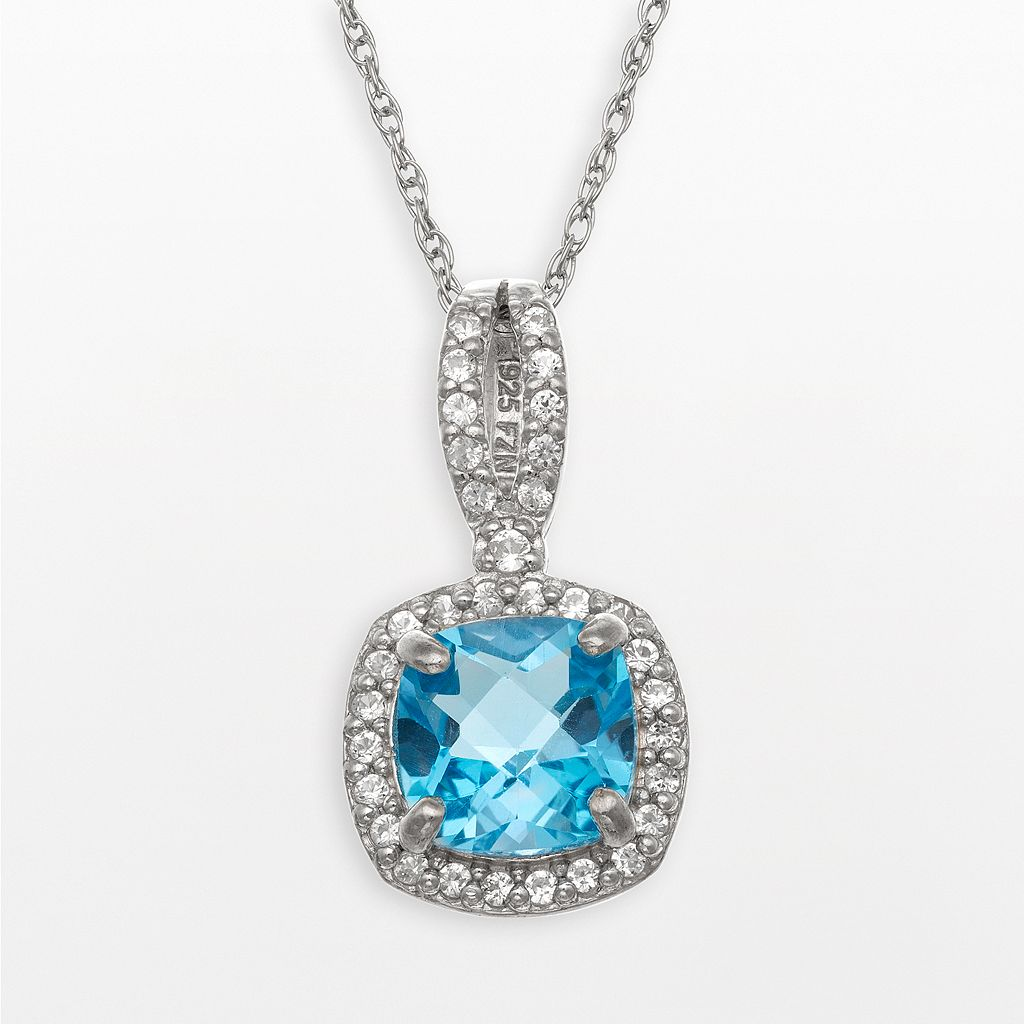 Sterling Silver Swiss Blue Topaz & Lab-Created White Sapphire Square Halo Pendant