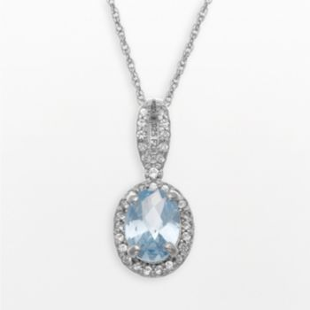 Sterling Silver Lab-Created Aquamarine and Lab-Created White Sapphire Oval Halo Pendant