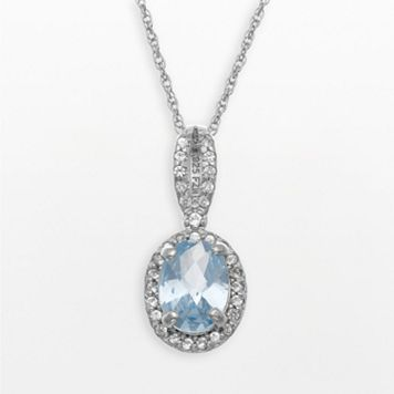 Sterling Silver Lab-Created Aquamarine & Lab-Created White Sapphire Oval Halo Pendant