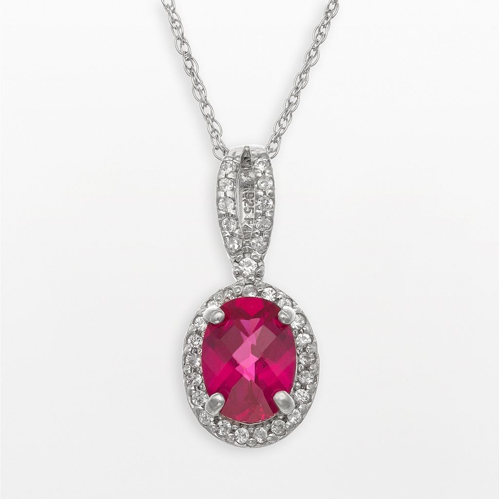 Sterling Silver Lab-Created Ruby & Lab-Created White Sapphire Oval Halo Pendant