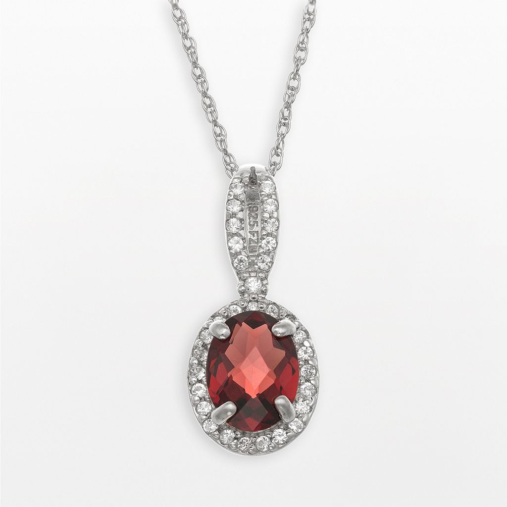 Sterling Silver Garnet & Lab-Created White Sapphire Oval Halo Pendant