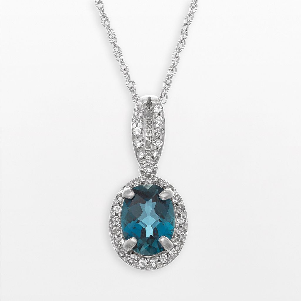 Sterling Silver London Blue Topaz & Lab-Created White Sapphire Oval Halo Pendant
