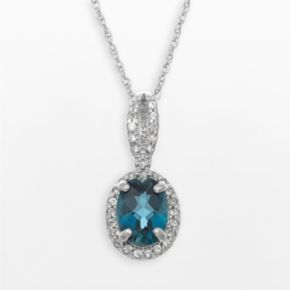 Sterling Silver London Blue Topaz and Lab-Created White Sapphire Oval Halo Pendant