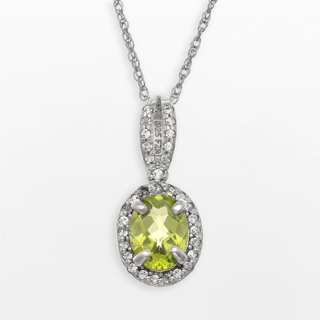 Sterling Silver Peridot & Lab-Created White Sapphire Oval Halo Pendant