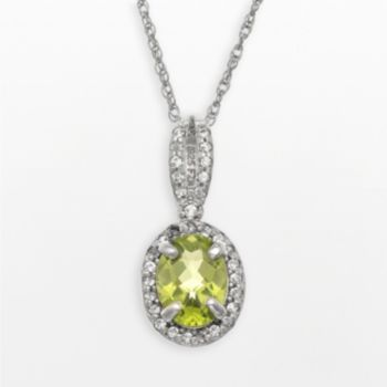 Sterling Silver Peridot and Lab-Created White Sapphire Oval Halo Pendant