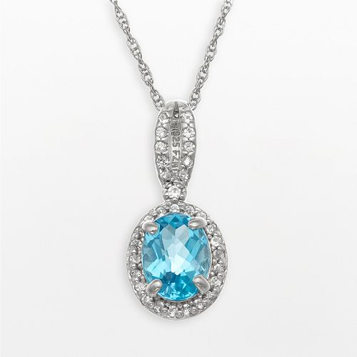 Sterling Silver Swiss Blue Topaz & Lab-Created White Sapphire Oval Halo Pendant