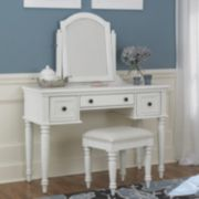 Bermuda 3-pc. White Vanity Table, Mirror & Bench Set