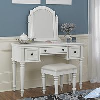 Bermuda 3 pc White Vanity Table, Mirror & Bench Set