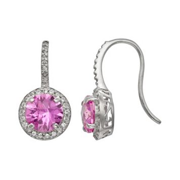 Sterling Silver Lab-Created Pink Sapphire & Lab-Created White Sapphire Halo Drop Earrings