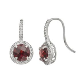 Sterling Silver Garnet and Lab-Created White Sapphire Halo Drop Earrings