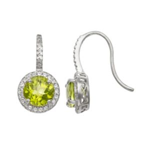 Sterling Silver Peridot and Lab-Created White Sapphire Halo Drop Earrings