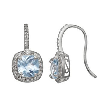 Sterling Silver Lab-Created Aquamarine & Lab-Created White Sapphire Halo Drop Earrings