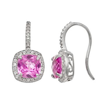 Sterling Silver Lab-Created Pink & White Sapphire Halo Drop Earrings