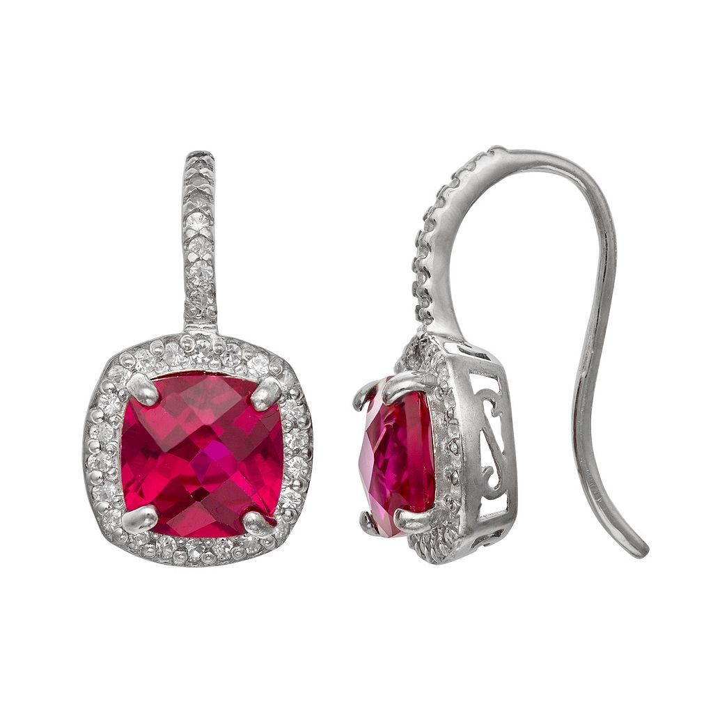 Sterling Silver Lab-Created Ruby & Lab-Created White Sapphire Halo Drop Earrings